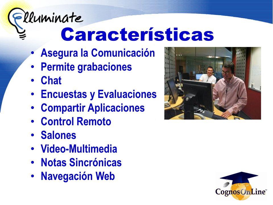 Asegura la Comunicación Permite grabaciones Chat Encuestas y Evaluaciones Compartir Aplicaciones Control Remoto Salones Video-Multimedia Notas Sincrón