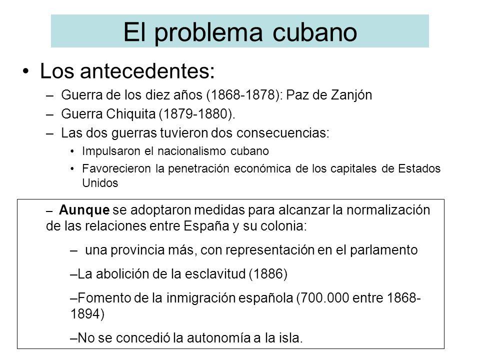 El problema cubano Los antecedentes: –Guerra de los diez años (1868-1878): Paz de Zanjón –Guerra Chiquita (1879-1880). –Las dos guerras tuvieron dos c