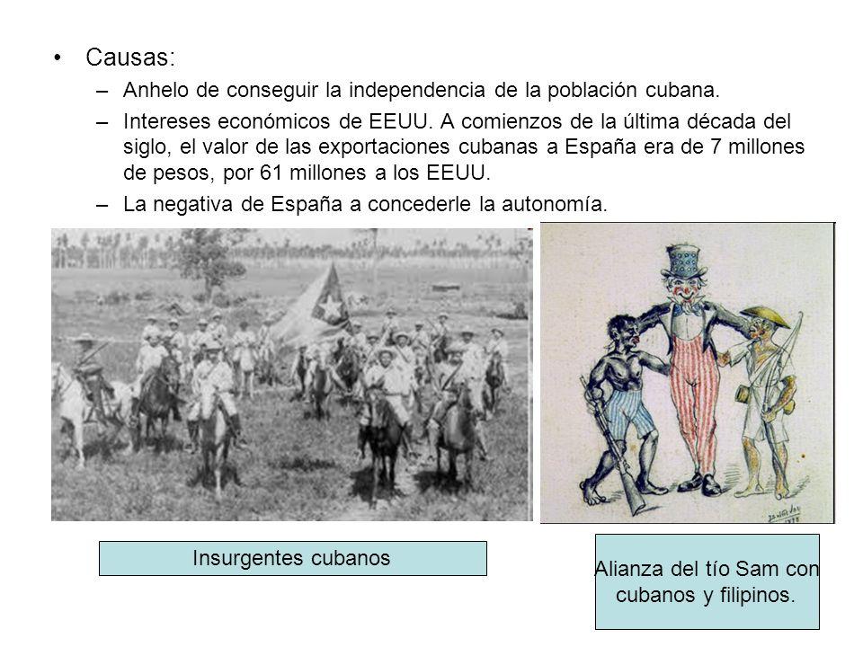 Causas: –Anhelo de conseguir la independencia de la población cubana. –Intereses económicos de EEUU. A comienzos de la última década del siglo, el val