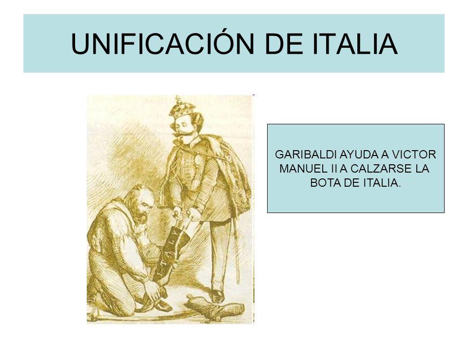 UNIFICACIÓN DE ITALIA GARIBALDI AYUDA A VICTOR MANUEL II A CALZARSE LA BOTA DE ITALIA.