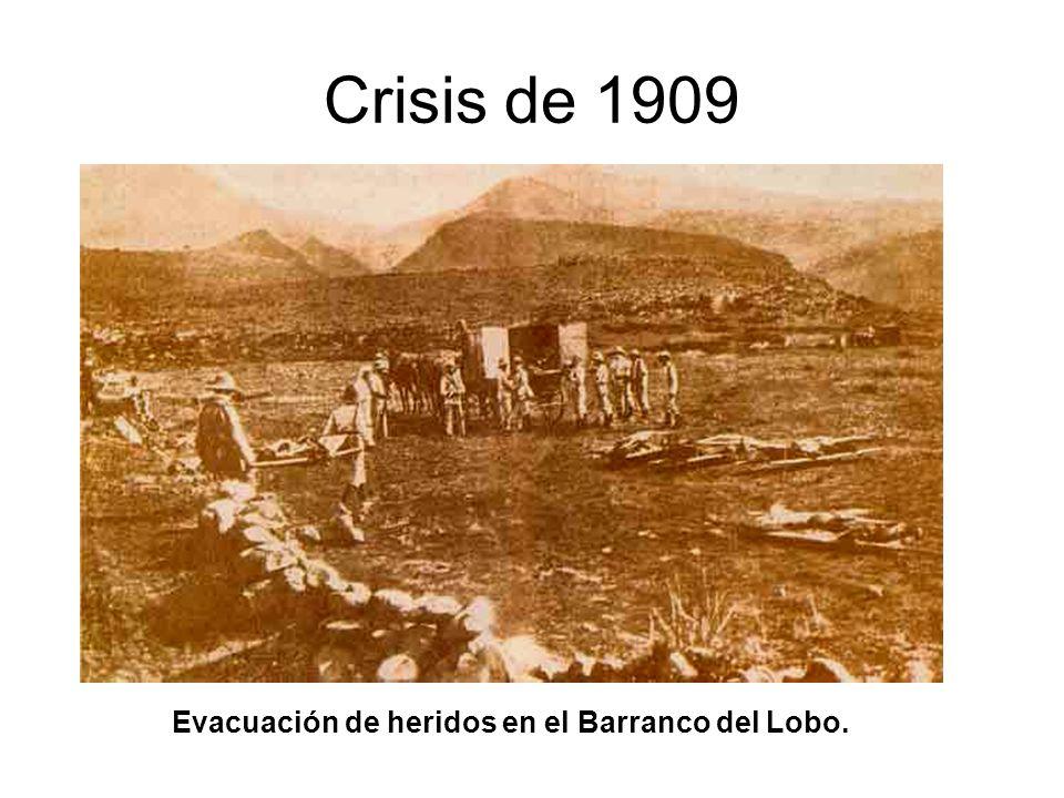 Crisis de 1909 Evacuación de heridos en el Barranco del Lobo.