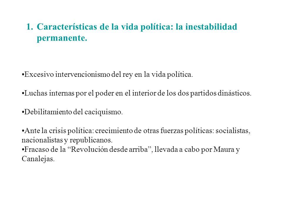 1.Características de la vida política: la inestabilidad permanente. Excesivo intervencionismo del rey en la vida política. Luchas internas por el pode