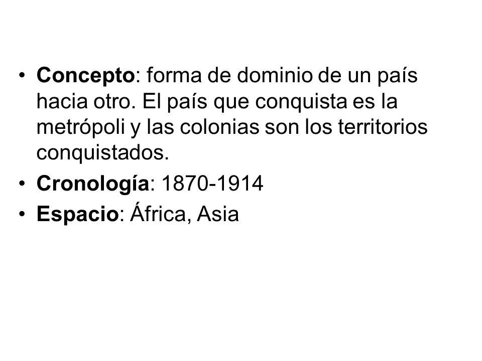 Concepto: forma de dominio de un país hacia otro. El país que conquista es la metrópoli y las colonias son los territorios conquistados. Cronología: 1