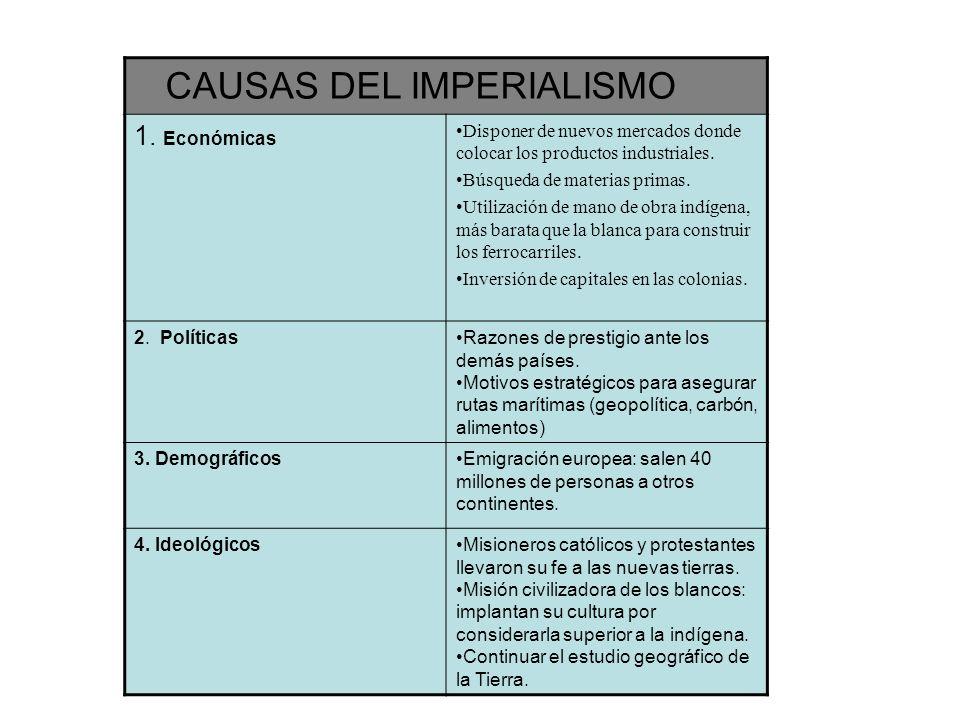 CAUSAS ECONÓMICAS EL imperialismo es consecuencia de la industrialización.
