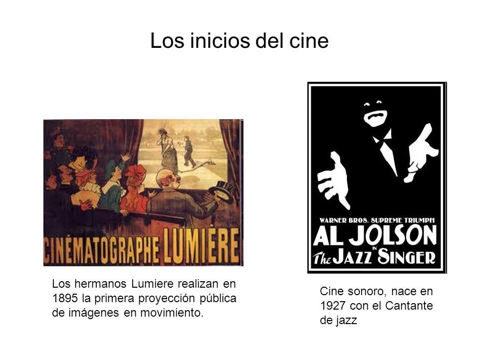 Cine sonoro, nace en 1927 con el Cantante de jazz Los hermanos Lumiere realizan en 1895 la primera proyección pública de imágenes en movimiento. Los i