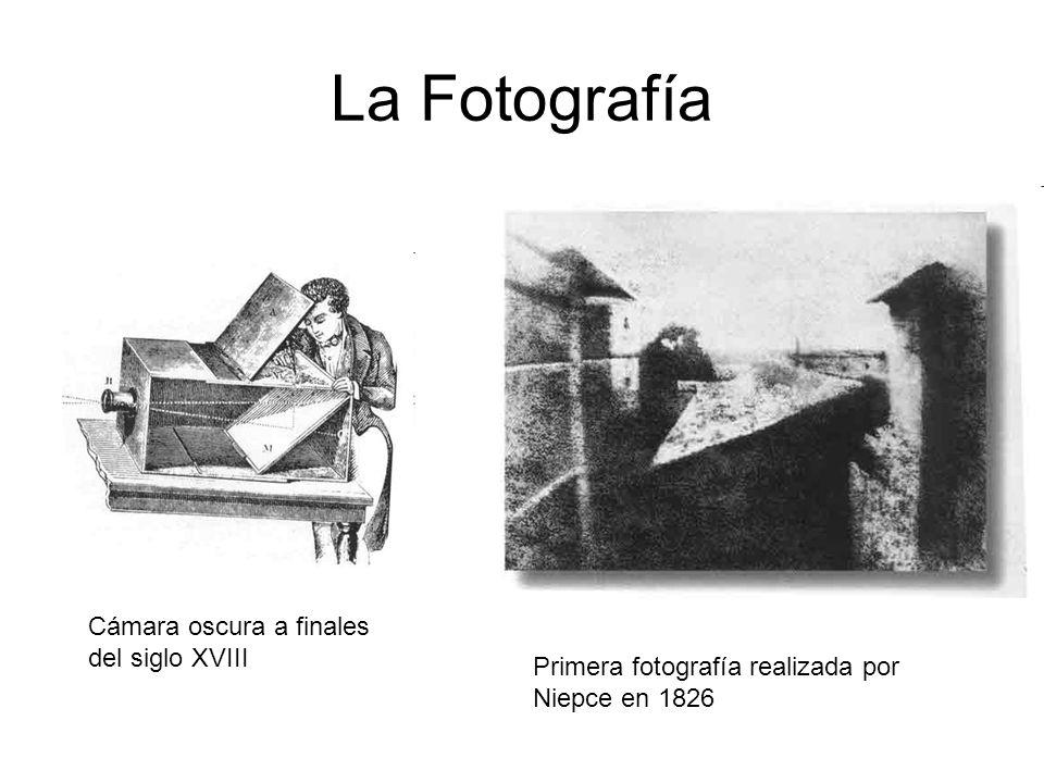 La Fotografía Cámara oscura a finales del siglo XVIII Primera fotografía realizada por Niepce en 1826