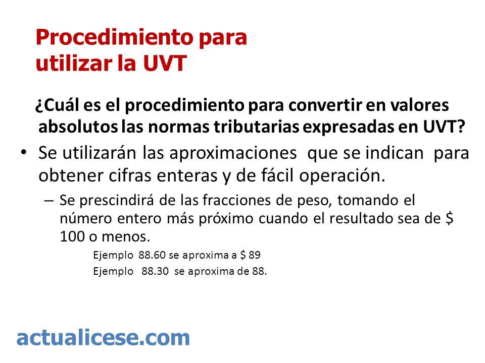 actualicese.com Procedimiento para utilizar la UVT ¿Cuál es el procedimiento para convertir en valores absolutos las normas tributarias expresadas en