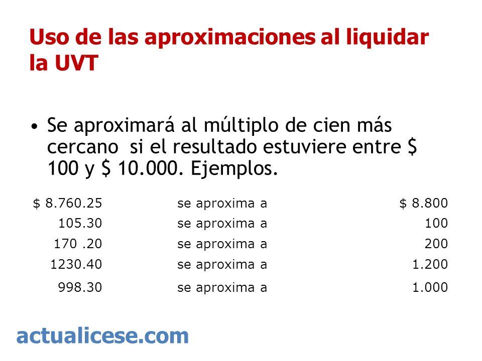 actualicese.com Uso de las aproximaciones al liquidar la UVT $ 8.760.25se aproxima a$ 8.800 105.30se aproxima a100 170.20se aproxima a200 1230.40se ap