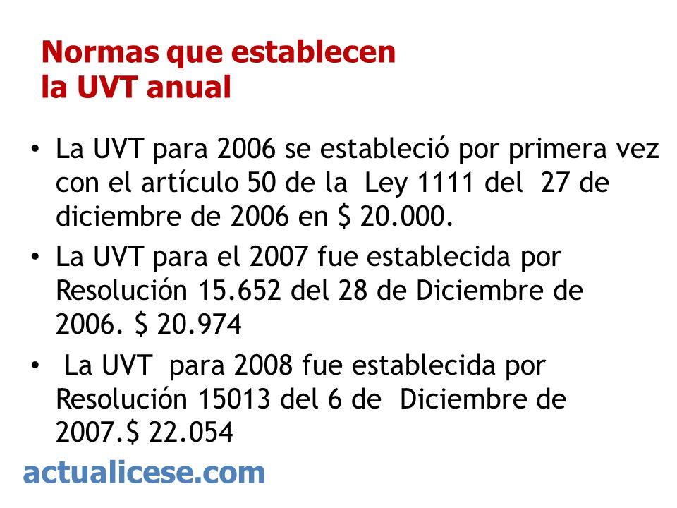 actualicese.com Normas que establecen la UVT anual La UVT para 2006 se estableció por primera vez con el artículo 50 de la Ley 1111 del 27 de diciembr