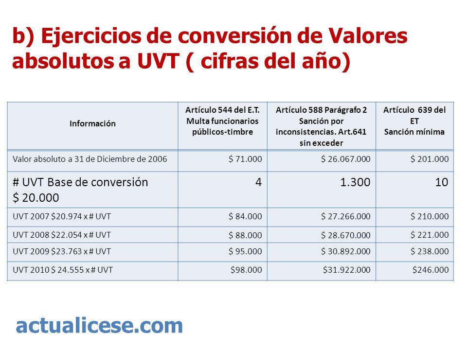 actualicese.com b) Ejercicios de conversión de Valores absolutos a UVT ( cifras del año) Información Artículo 544 del E.T. Multa funcionarios públicos