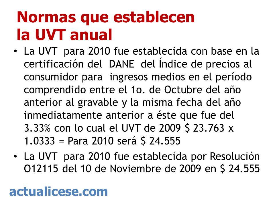 actualicese.com Normas que establecen la UVT anual La UVT para 2010 fue establecida con base en la certificación del DANE del Índice de precios al con