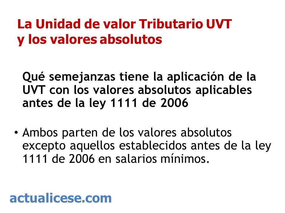 actualicese.com La Unidad de valor Tributario UVT y los valores absolutos Qué semejanzas tiene la aplicación de la UVT con los valores absolutos aplic