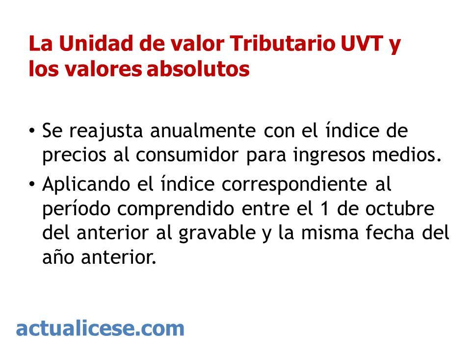 actualicese.com La Unidad de valor Tributario UVT y los valores absolutos Se reajusta anualmente con el índice de precios al consumidor para ingresos