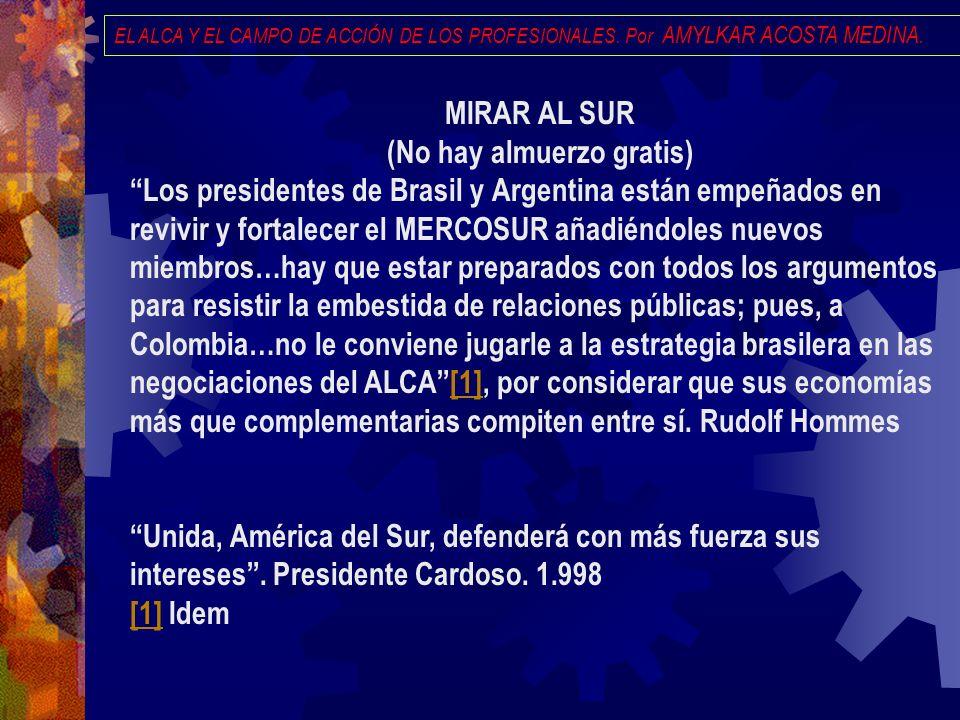 EL ALCA Y EL CAMPO DE ACCIÓN DE LOS PROFESIONALES. Por AMYLKAR ACOSTA MEDINA. MIRAR AL SUR (No hay almuerzo gratis) Los presidentes de Brasil y Argent