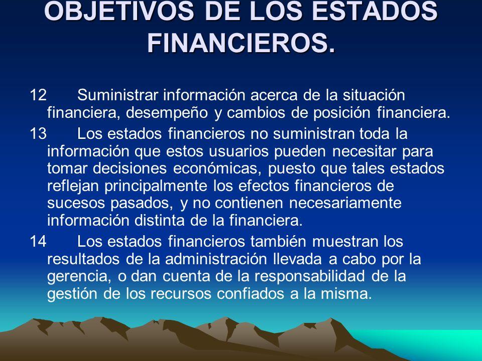 OBJETIVOS DE LOS ESTADOS FINANCIEROS. 12 Suministrar información acerca de la situación financiera, desempeño y cambios de posición financiera. 13 Los