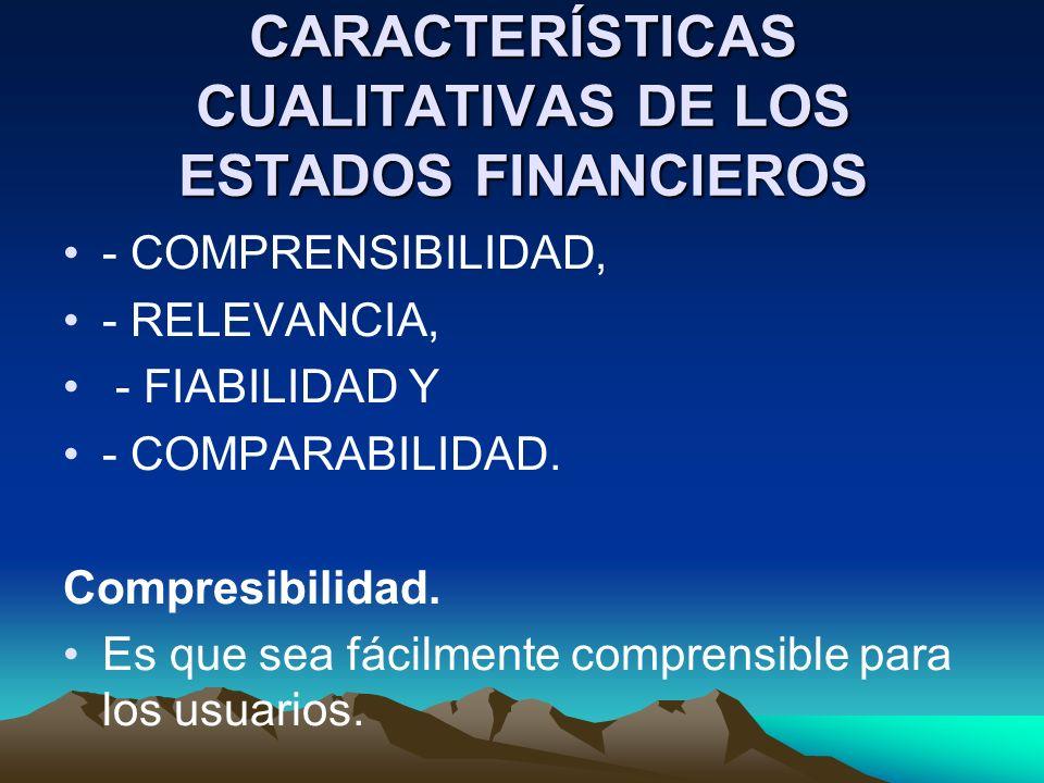 CARACTERÍSTICAS CUALITATIVAS DE LOS ESTADOS FINANCIEROS - COMPRENSIBILIDAD, - RELEVANCIA, - FIABILIDAD Y - COMPARABILIDAD. Compresibilidad. Es que sea