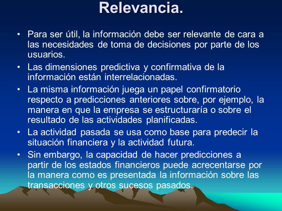 Relevancia. Para ser útil, la información debe ser relevante de cara a las necesidades de toma de decisiones por parte de los usuarios. Las dimensione