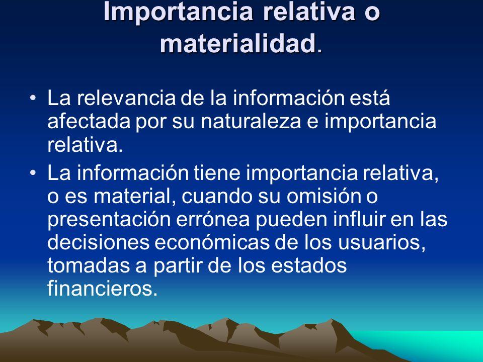 Importancia relativa o materialidad. La relevancia de la información está afectada por su naturaleza e importancia relativa. La información tiene impo