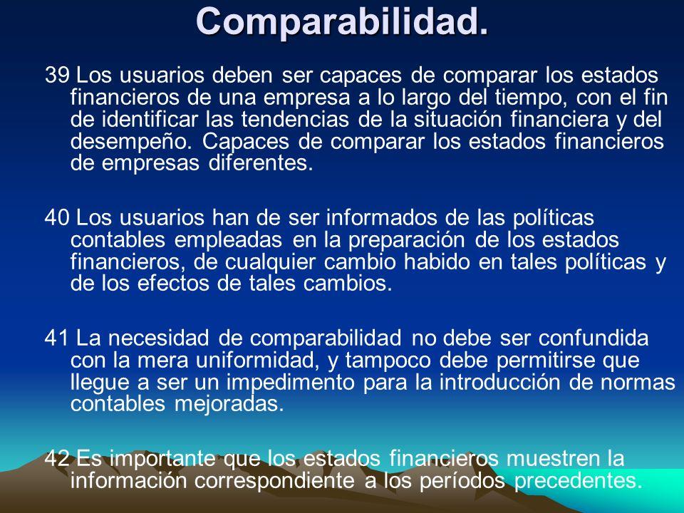 Comparabilidad. 39 Los usuarios deben ser capaces de comparar los estados financieros de una empresa a lo largo del tiempo, con el fin de identificar