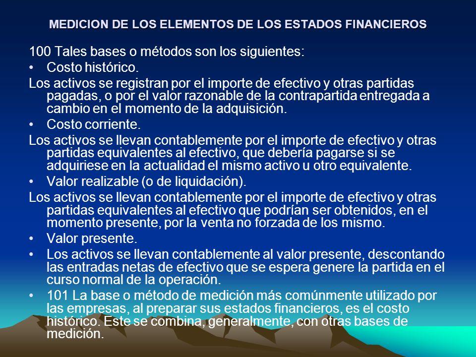 MEDICION DE LOS ELEMENTOS DE LOS ESTADOS FINANCIEROS 100 Tales bases o métodos son los siguientes: Costo histórico. Los activos se registran por el im