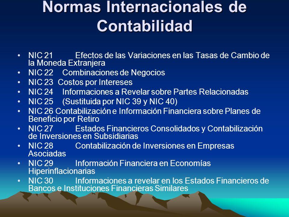 Normas Internacionales de Contabilidad NIC 21Efectos de las Variaciones en las Tasas de Cambio de la Moneda Extranjera NIC 22 Combinaciones de Negocio