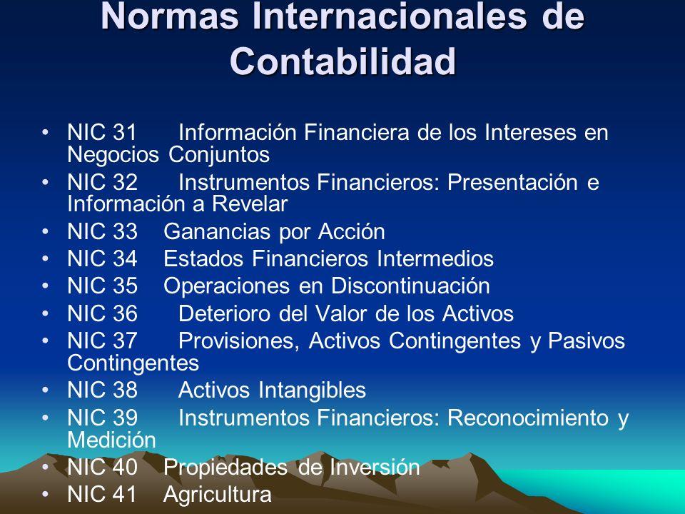 Normas Internacionales de Contabilidad NIC 31Información Financiera de los Intereses en Negocios Conjuntos NIC 32Instrumentos Financieros: Presentació