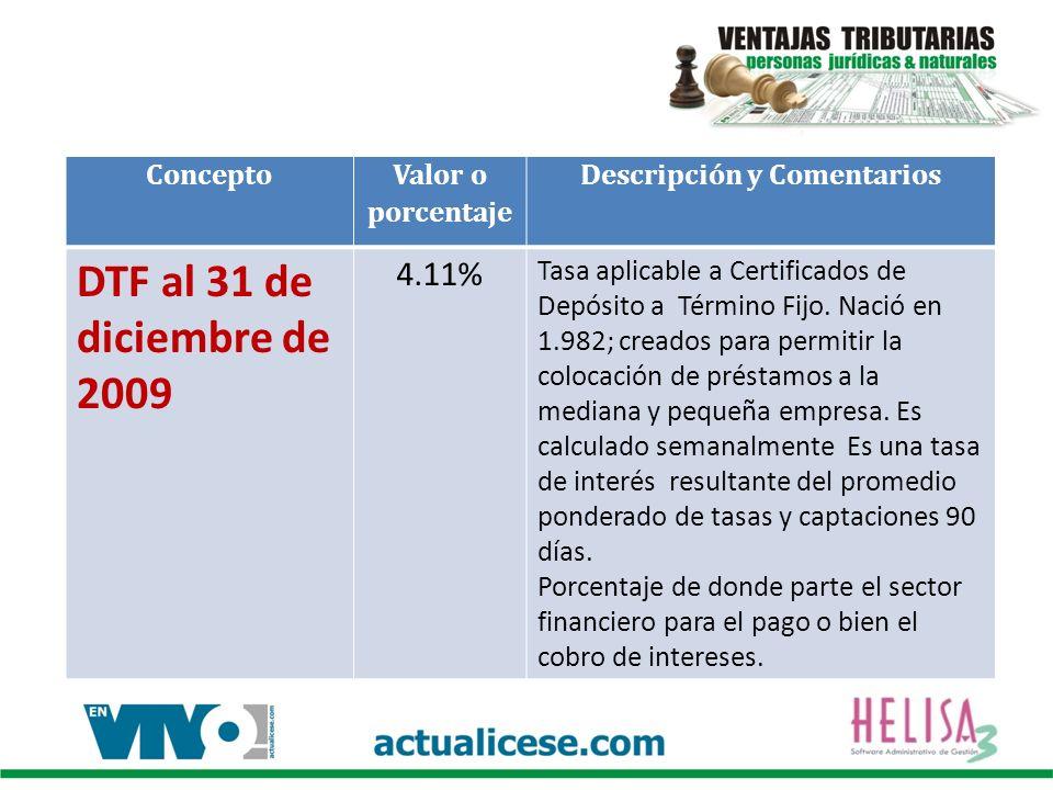 Concepto Valor o porcentaje Descripción y Comentarios DTF al 31 de diciembre de 2009 4.11% Tasa aplicable a Certificados de Depósito a Término Fijo.
