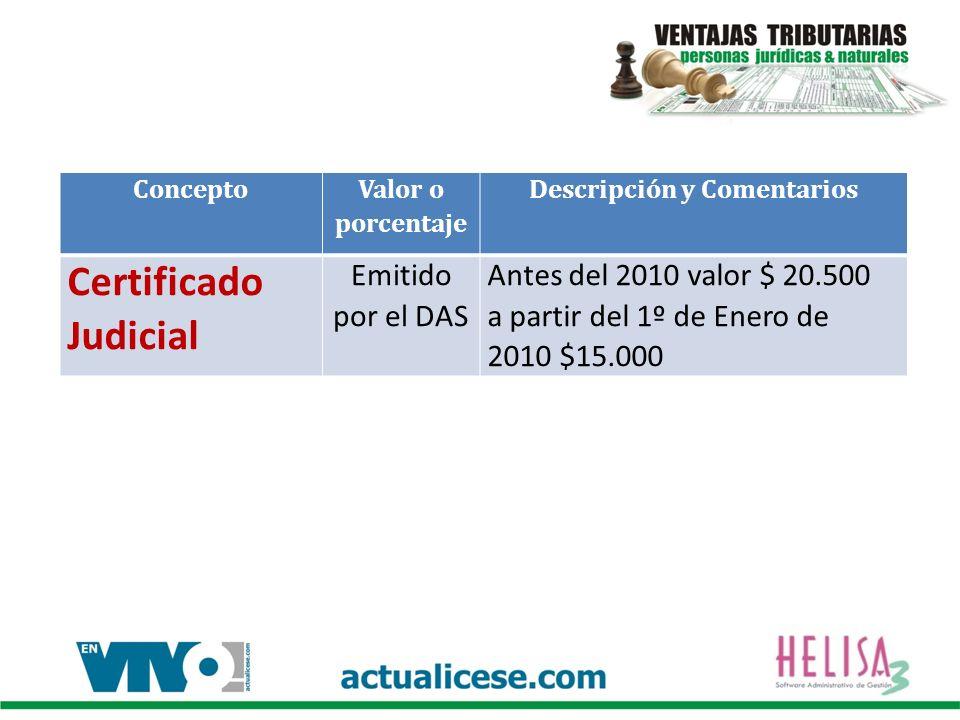 Concepto Valor o porcentaje Descripción y Comentarios Certificado Judicial Emitido por el DAS Antes del 2010 valor $ 20.500 a partir del 1º de Enero d