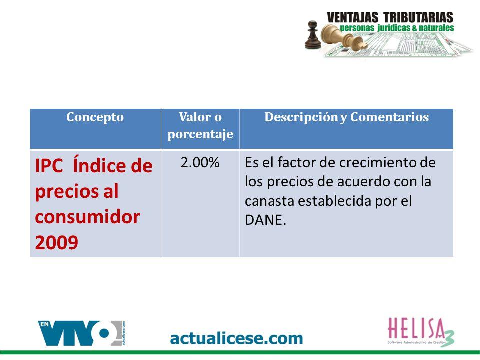 Concepto Valor o porcentaje Descripción y Comentarios IPC Índice de precios al consumidor 2009 2.00%Es el factor de crecimiento de los precios de acuerdo con la canasta establecida por el DANE.