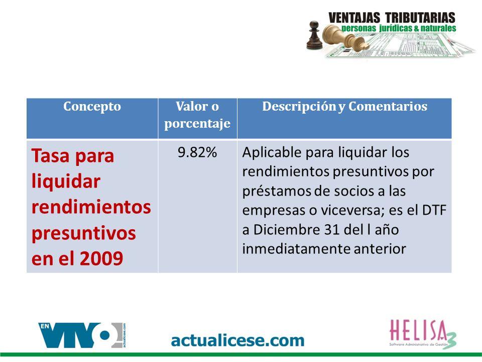 Concepto Valor o porcentaje Descripción y Comentarios Tasa para liquidar rendimientos presuntivos en el 2009 9.82%Aplicable para liquidar los rendimie