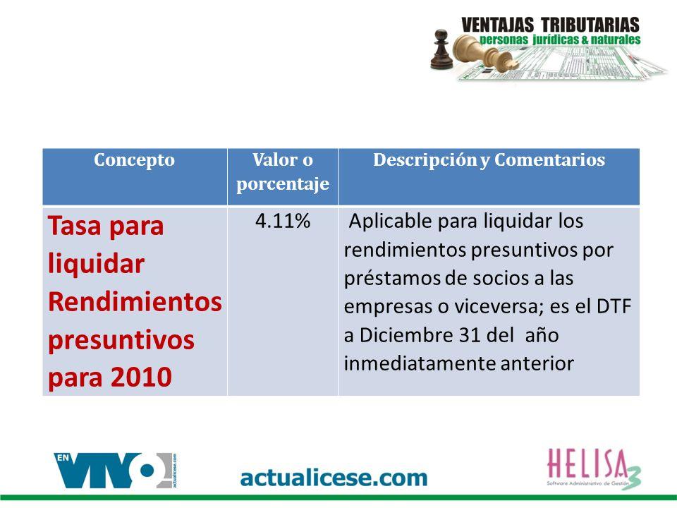 Concepto Valor o porcentaje Descripción y Comentarios Tasa para liquidar Rendimientos presuntivos para 2010 4.11% Aplicable para liquidar los rendimientos presuntivos por préstamos de socios a las empresas o viceversa; es el DTF a Diciembre 31 del año inmediatamente anterior