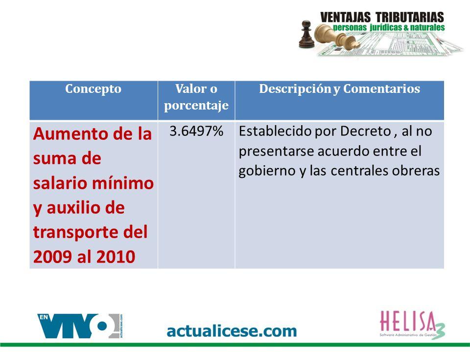 Concepto Valor o porcentaje Descripción y Comentarios Aumento de la suma de salario mínimo y auxilio de transporte del 2009 al 2010 3.6497%Establecido