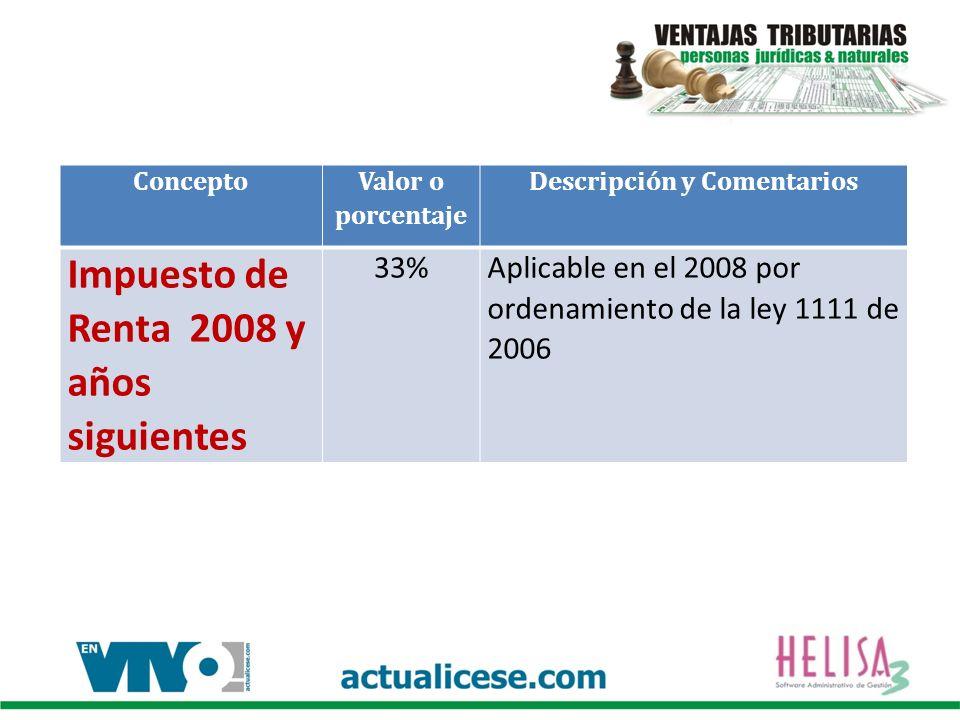 Concepto Valor o porcentaje Descripción y Comentarios Impuesto de Renta 2008 y años siguientes 33%Aplicable en el 2008 por ordenamiento de la ley 1111 de 2006
