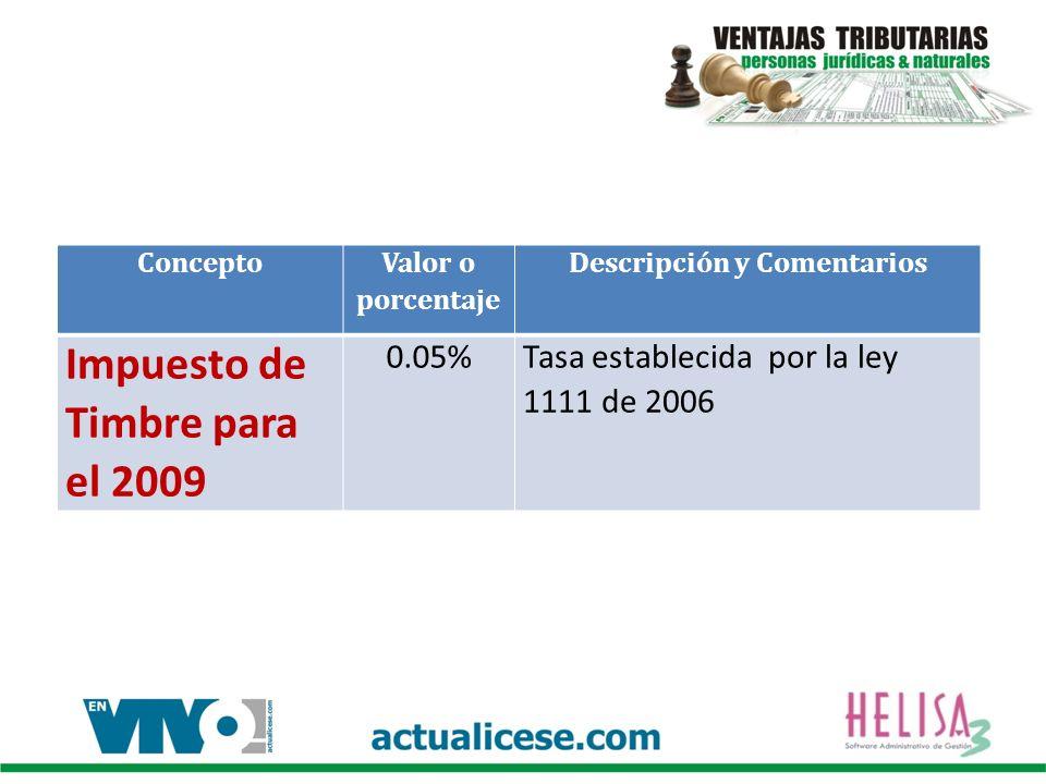 Concepto Valor o porcentaje Descripción y Comentarios Impuesto de Timbre para el 2009 0.05%Tasa establecida por la ley 1111 de 2006