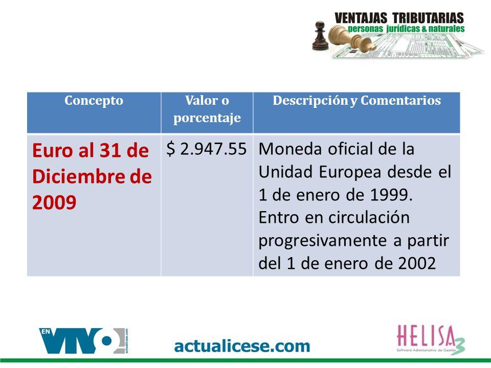 Concepto Valor o porcentaje Descripción y Comentarios Euro al 31 de Diciembre de 2009 $ 2.947.55Moneda oficial de la Unidad Europea desde el 1 de enero de 1999.