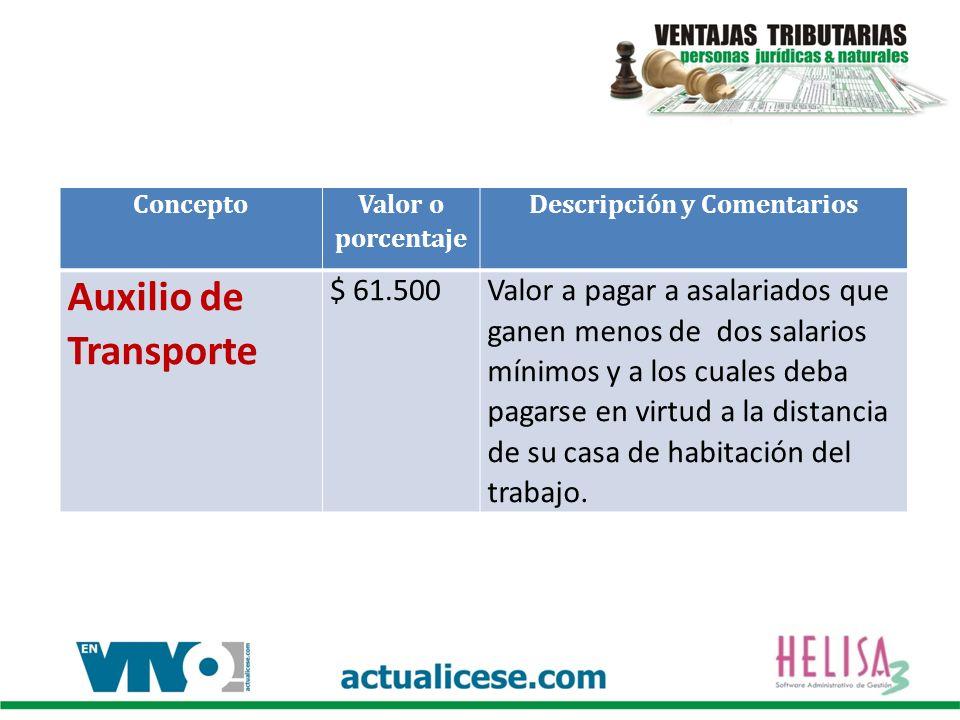 Concepto Valor o porcentaje Descripción y Comentarios Auxilio de Transporte $ 61.500Valor a pagar a asalariados que ganen menos de dos salarios mínimo