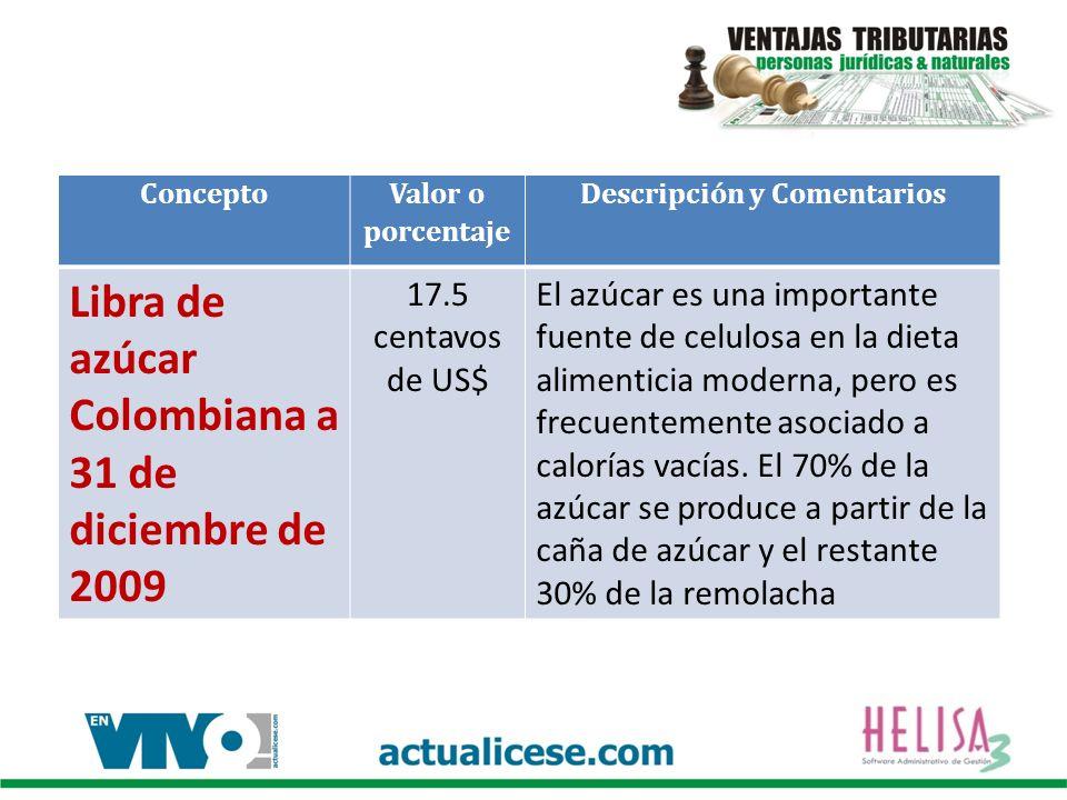 Concepto Valor o porcentaje Descripción y Comentarios Libra de azúcar Colombiana a 31 de diciembre de 2009 17.5 centavos de US$ El azúcar es una importante fuente de celulosa en la dieta alimenticia moderna, pero es frecuentemente asociado a calorías vacías.