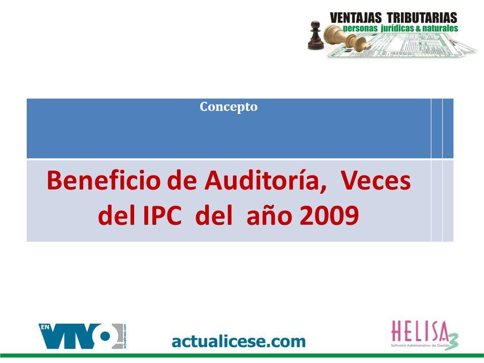 Concepto Beneficio de Auditoría, Veces del IPC del año 2009