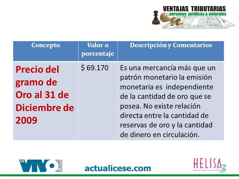 Concepto Valor o porcentaje Descripción y Comentarios Se podrán depreciar en un solo año fiscalmente los Activos con un valor igual o inferior a 50 UVT $ 1.228.000En el año 2009 el valor era de $ 1.188.000