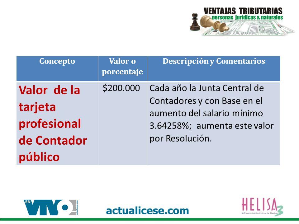 Concepto Valor o porcentaje Descripción y Comentarios Valor de la tarjeta profesional de Contador público $200.000Cada año la Junta Central de Contado