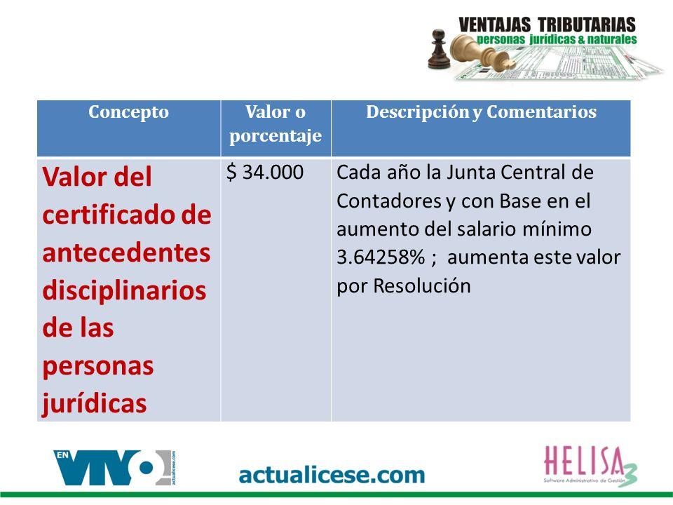 Concepto Valor o porcentaje Descripción y Comentarios Valor del certificado de antecedentes disciplinarios de las personas jurídicas $ 34.000Cada año