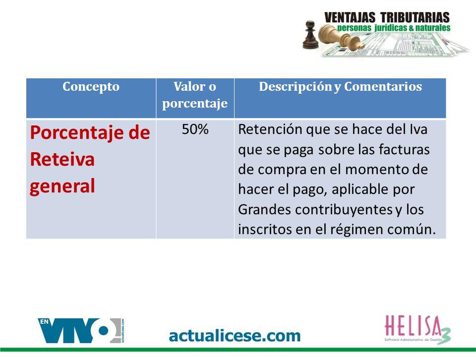 Concepto Valor o porcentaje Descripción y Comentarios Porcentaje de Reteiva general 50%Retención que se hace del Iva que se paga sobre las facturas de