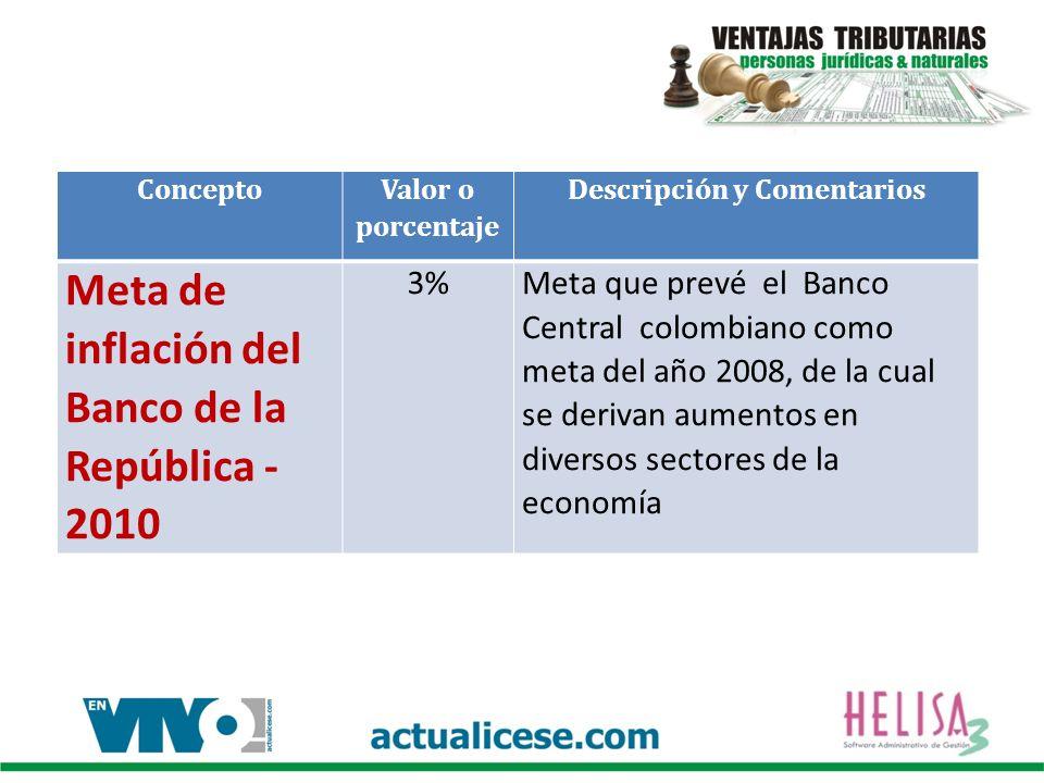 Concepto Valor o porcentaje Descripción y Comentarios Meta de inflación del Banco de la República - 2010 3%Meta que prevé el Banco Central colombiano
