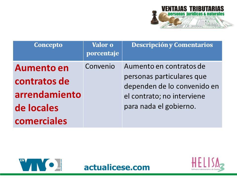 Concepto Valor o porcentaje Descripción y Comentarios Aumento en contratos de arrendamiento de locales comerciales ConvenioAumento en contratos de personas particulares que dependen de lo convenido en el contrato; no interviene para nada el gobierno.