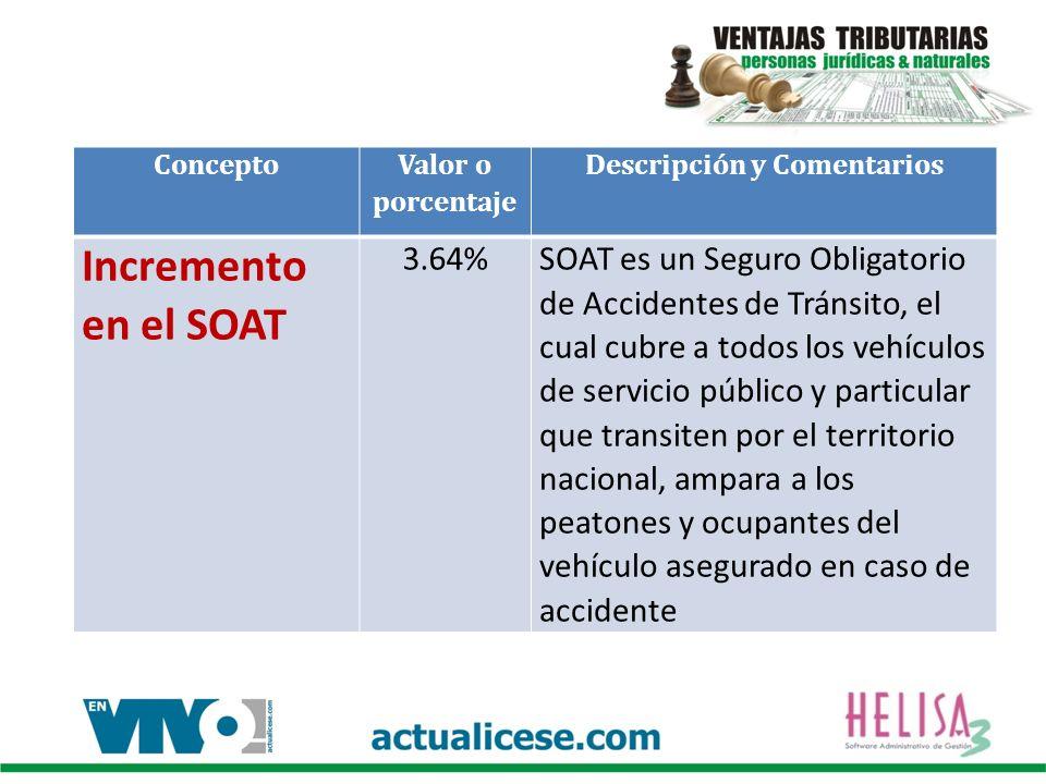 Concepto Valor o porcentaje Descripción y Comentarios Incremento en el SOAT 3.64%SOAT es un Seguro Obligatorio de Accidentes de Tránsito, el cual cubr