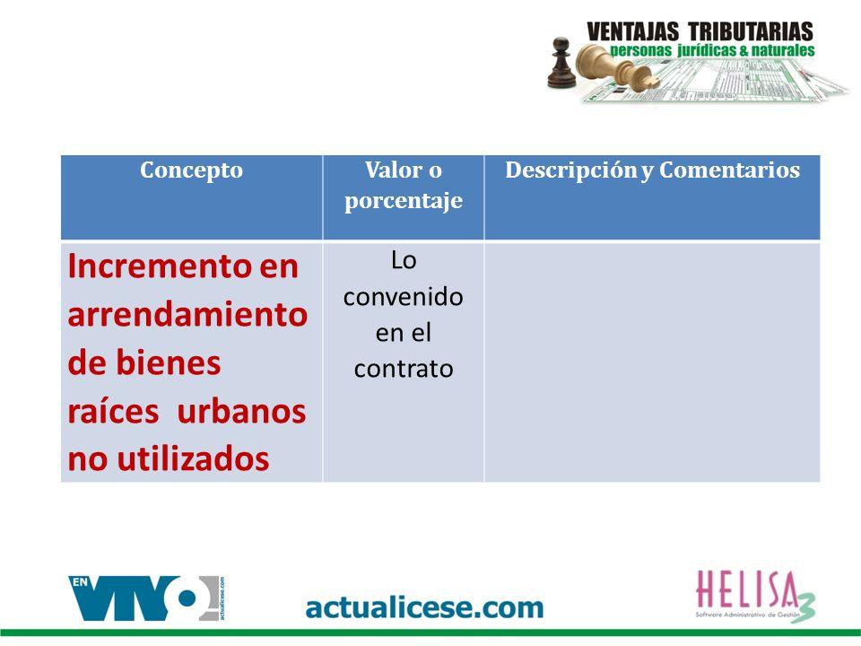 Concepto Valor o porcentaje Descripción y Comentarios Incremento en arrendamiento de bienes raíces urbanos no utilizados Lo convenido en el contrato
