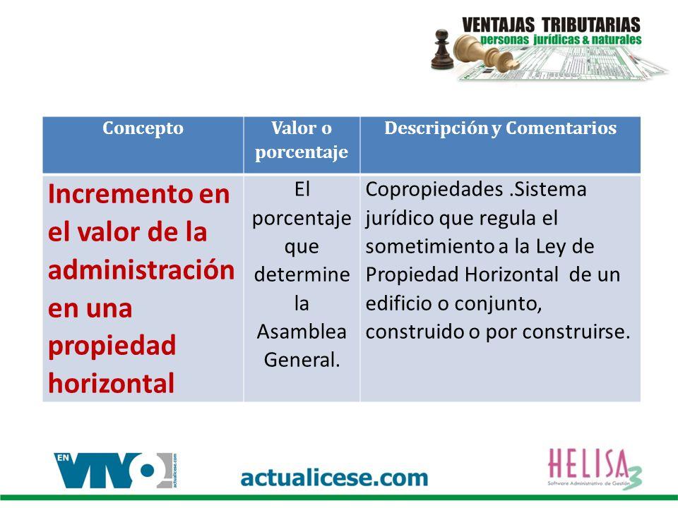 Concepto Valor o porcentaje Descripción y Comentarios Incremento en el valor de la administración en una propiedad horizontal El porcentaje que determine la Asamblea General.