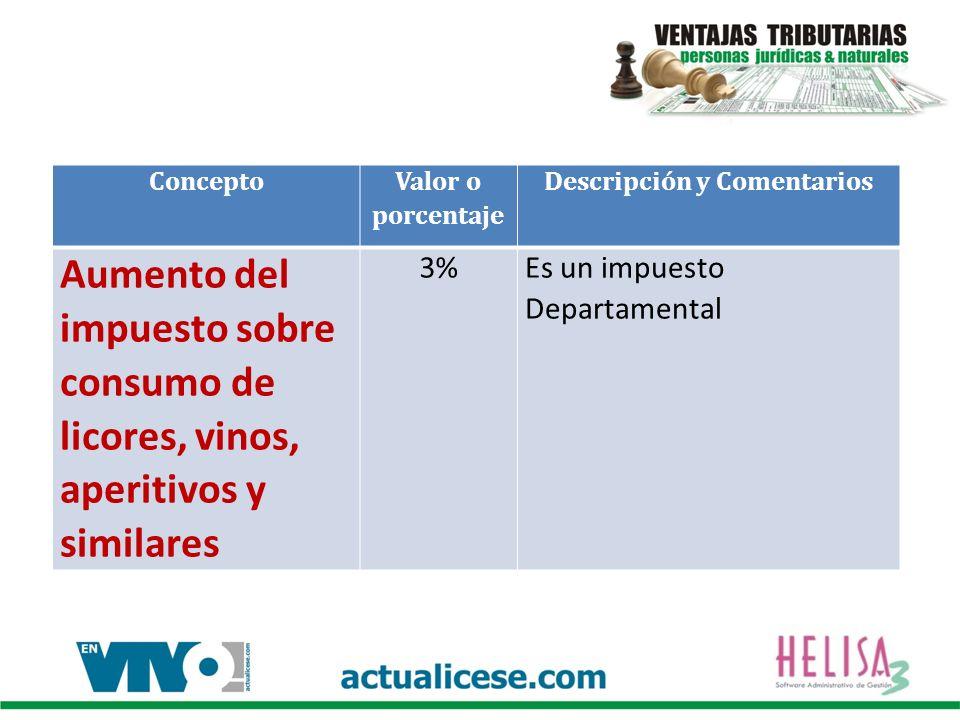 Concepto Valor o porcentaje Descripción y Comentarios Aumento del impuesto sobre consumo de licores, vinos, aperitivos y similares 3%Es un impuesto Departamental