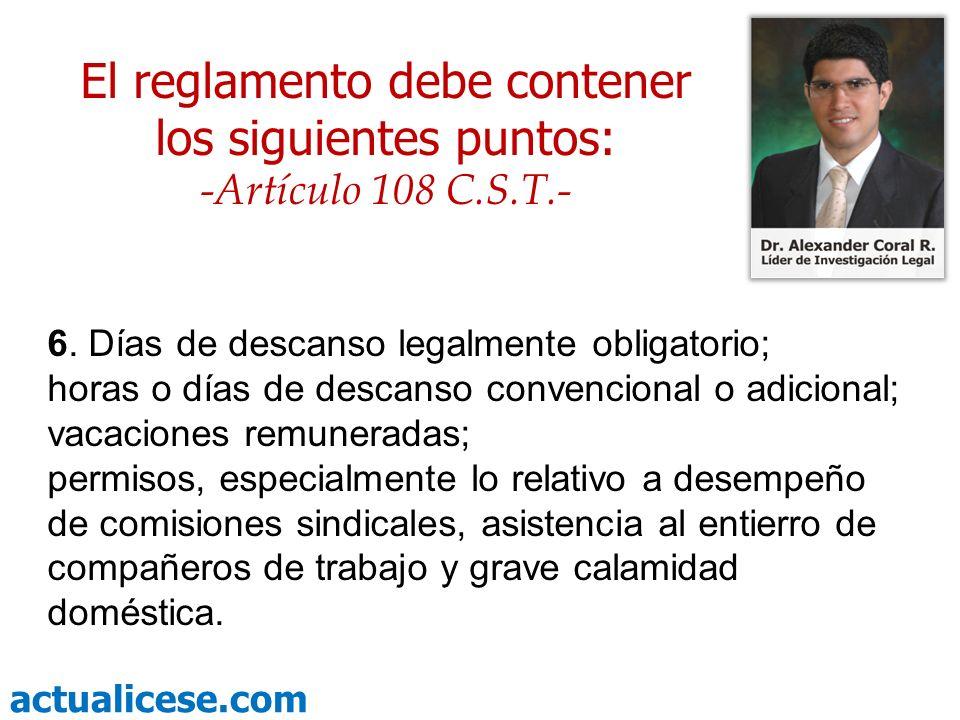actualicese.com Temas de las otras conferencias sobre el Reglamento de Trabajo Normas Excluidas.