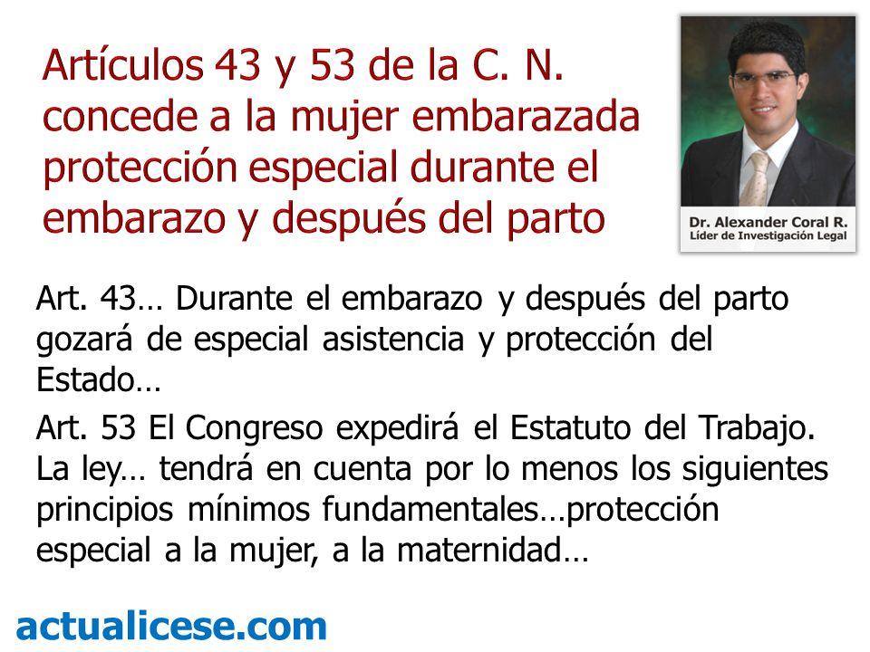 Art. 43… Durante el embarazo y después del parto gozará de especial asistencia y protección del Estado… Art. 53 El Congreso expedirá el Estatuto del T